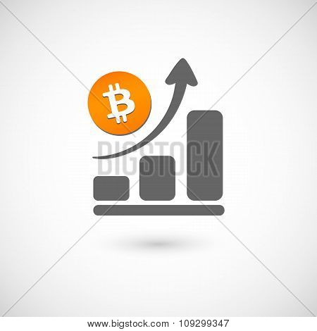 Bitcoin money orange stairs up the gray arrow pointing up on an isolated background. Vector illustra