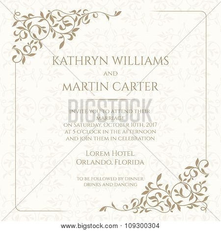 Wedding Invitation. Classic Design Elements.