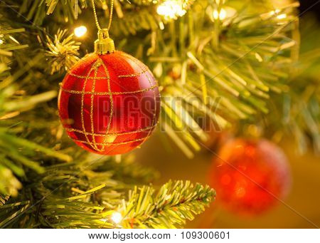 Red Tartan Bauble on Christmas Tree