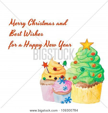 Christmas And New Year Watercolor Cupcake Greeting Card