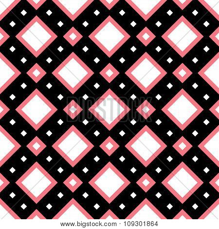 Squared Tile Pattern In Pink, Black And White