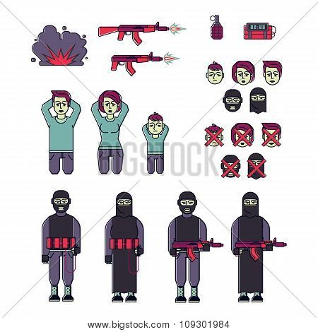 Icon set of men, women terrorist and victim vector