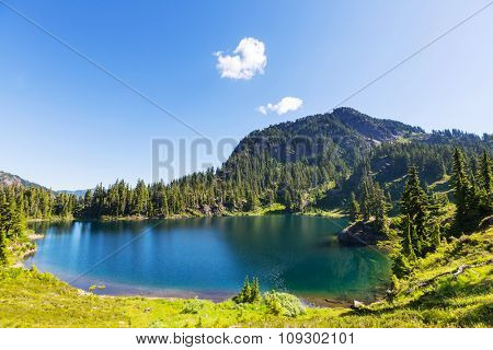 Serenity lake in the mountains