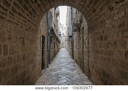 The Narrow Street In The Old Town Of Dubrovnik, Croatia