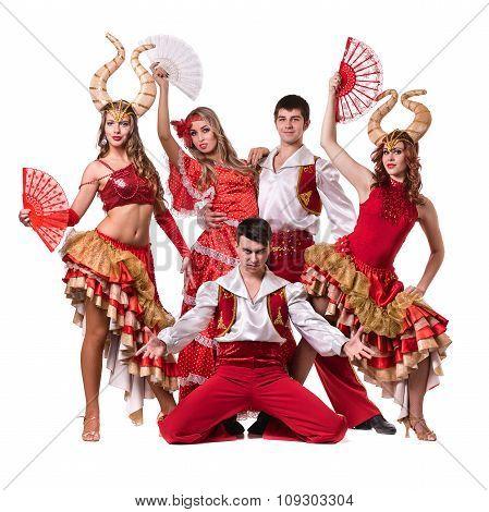 Cabaret dancer team dancing.  Isolated on white background in full length.