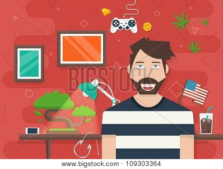 Handsome Character Vector Illustration