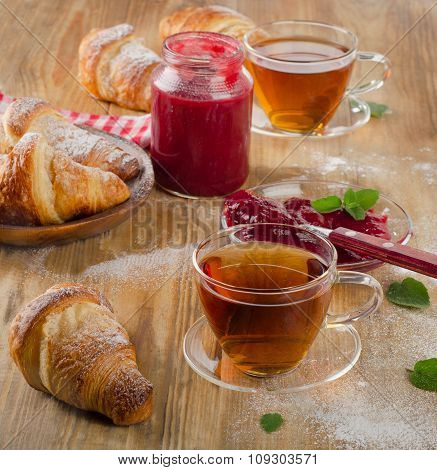Cups Of Tea And Croissants For  Breakfast.