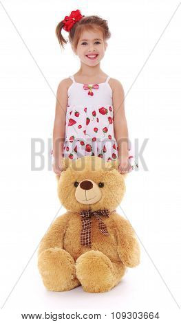 cute little girl with a teddy bear