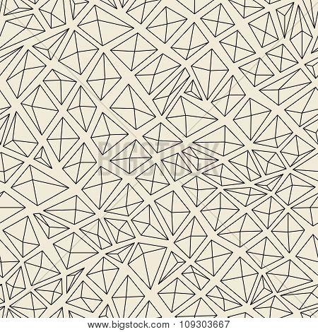 Diamonds Contour Seamless Pattern. Monochrome Color