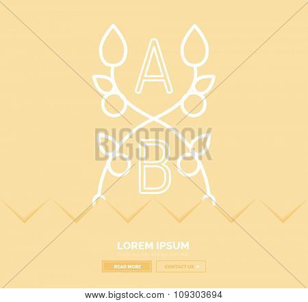 Abstract geometric linear hipster floral icon, frame design, flat style. Banner design element.