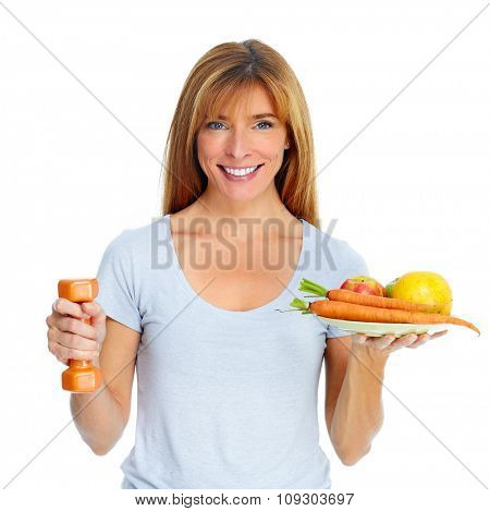 Healthy woman with dumbbell and fruits isolated white background.