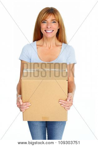 Beautiful smiling  lady with moving box over white background.