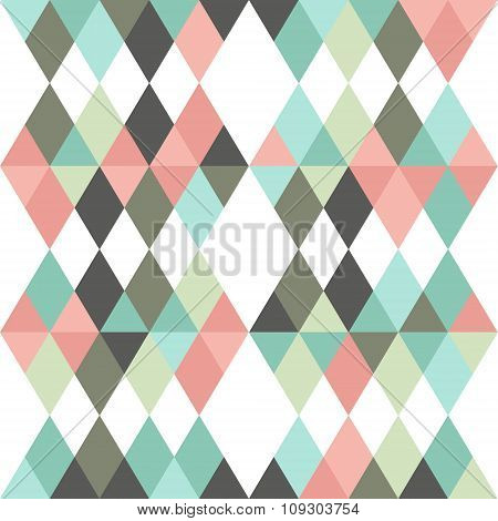 Tribal Rhombus With Triangles Seamless Pattern