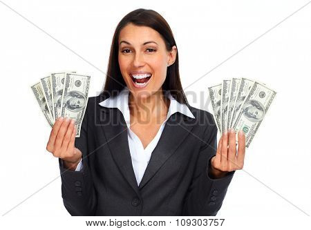 Happy laughing woman holding dollars over white background