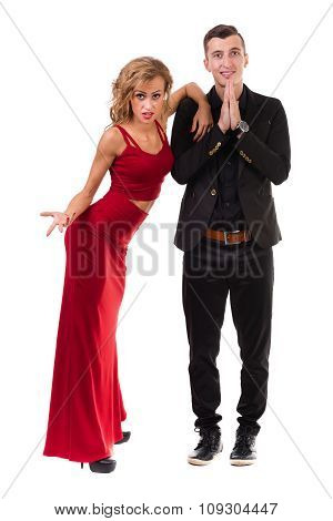 Young elegant couple dancing. Isolated on white