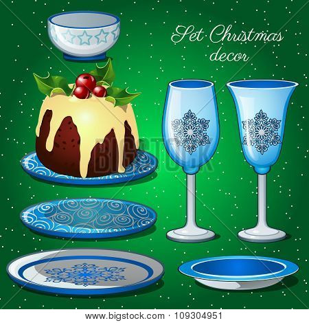 Tableware set with Christmas decoration and chocolate cake