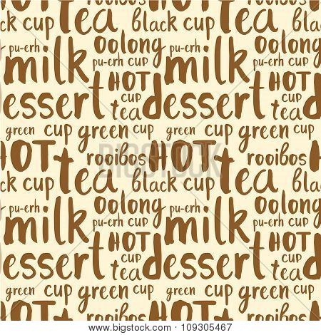 Pattern of tea party doodls.  Seamless background with words.