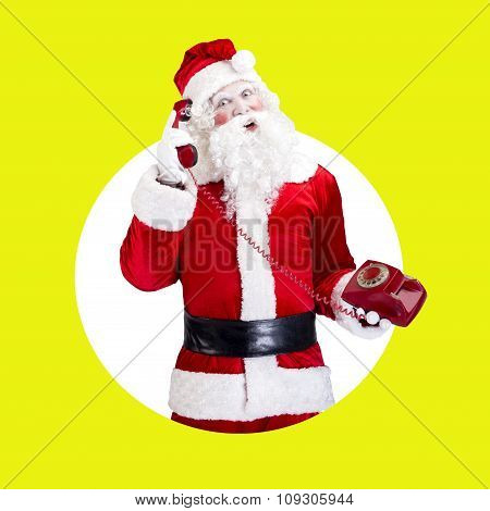 Santa Claus with red telephone posing on color white green background