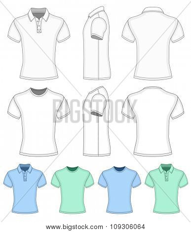 Men's short sleeve polo-shirt and t-shirt. Vector illustration.  Redact color very easy.