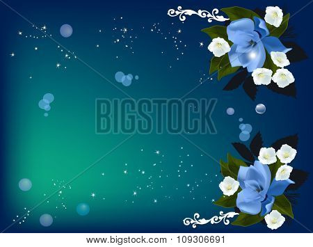 illustration with blue magnolia and white jasmine decoration