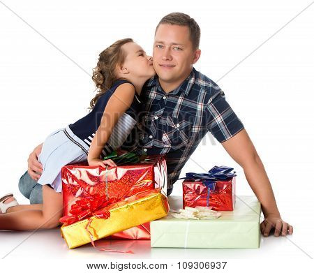 Dad gives daughter gifts