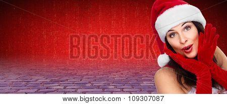 Happy Christmas girl over Xmas banner background.