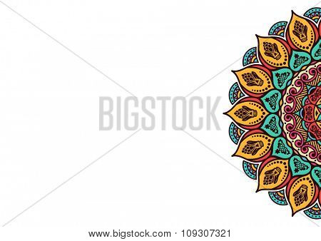 Business card template - mandala. Vintage decorative elements. Hand drawn background. Islam, Arabic, Indian, ottoman motifs