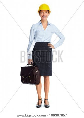 Beautiful engineer woman isolated over white background.