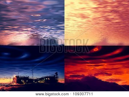 Four colorful landscapes with sky reflected in water