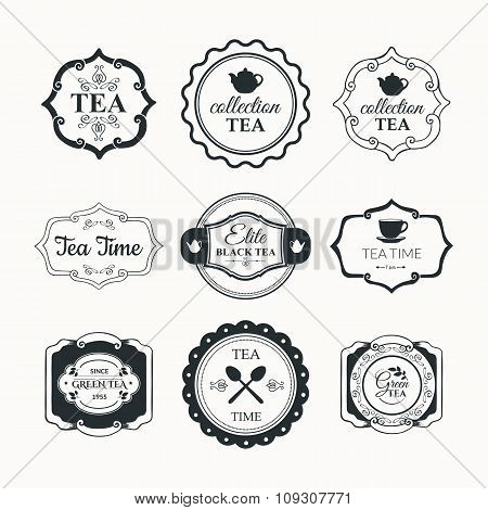 Vector Illustration with tea logo on white background.
