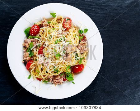 Italian Tuna Pasta Spaghetti With Tomato, Chilli, Parmesan And Wild Rocket  Lives. On Old Blue Stone