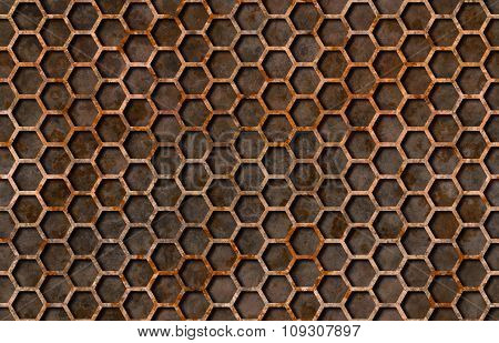 Rusty Hexagon Pattern Grate Texture Seamlessly Tileable