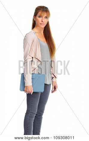 Beautiful casual woman portrait isolated over white background.