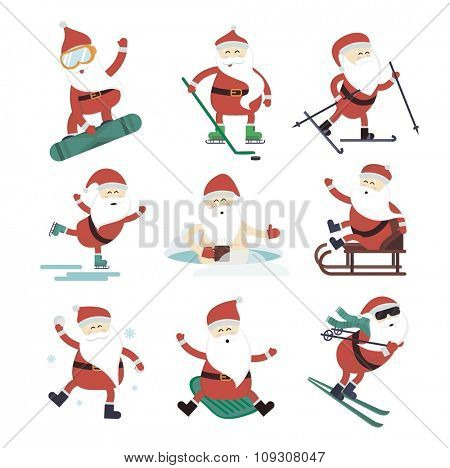 Cartoon extreme Santa winter sport illustration. Santa Claus winter sport isolated on white. Winter sport collection. Santa healthy, Santa cloth, Santa red hat, Santa sledge. Santa Claus vector