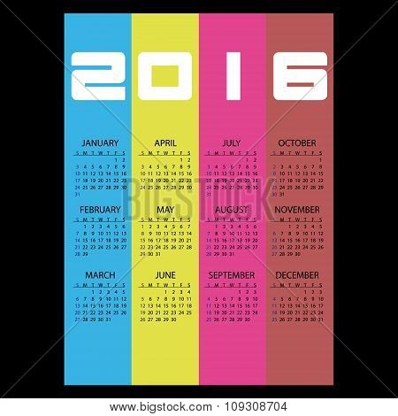 2016 Simple Business Wall Calendar With Color Vertical Stripes Eps10