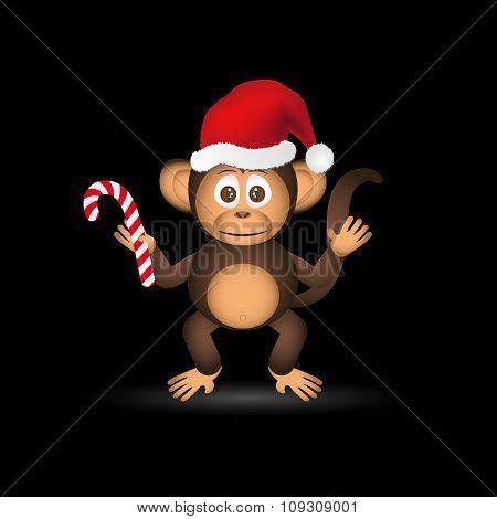 Cute Chimpanzee Little Monkey With Santa Hat Eps10