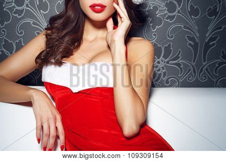 Sexy Santa Woman With Red Lips And Nails
