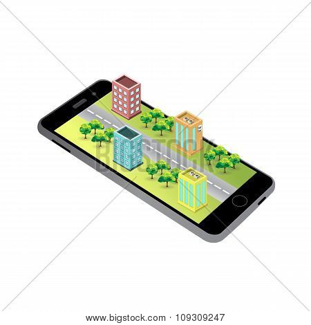 3D Map On The Screen Of The Mobile Device.