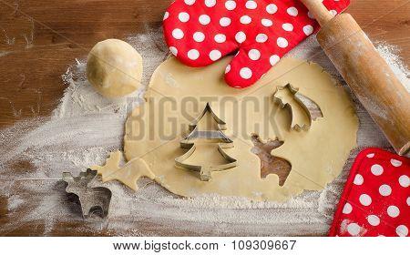 Baking Ingredients For Christmas Cookies.