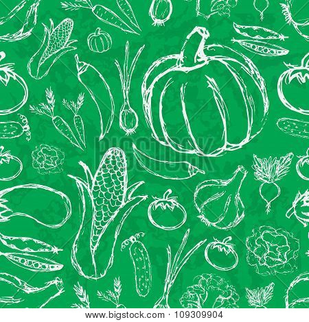 Simple Hand Drawn Doodle Vegetables On Green Board Seamless Pattern