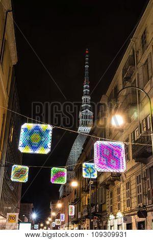 Light and Art in via Montebello in Turin, Italy