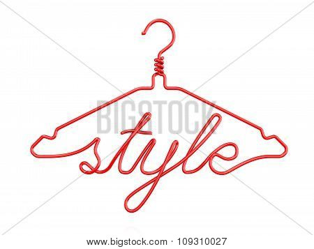 Red wire clothes hangers with message - STYLE. 3D render