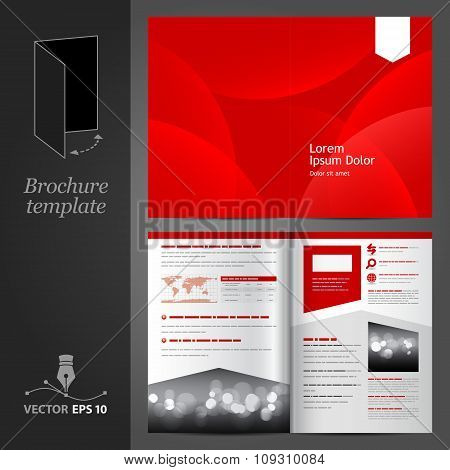 Red Brochure Template Design With White Arrow