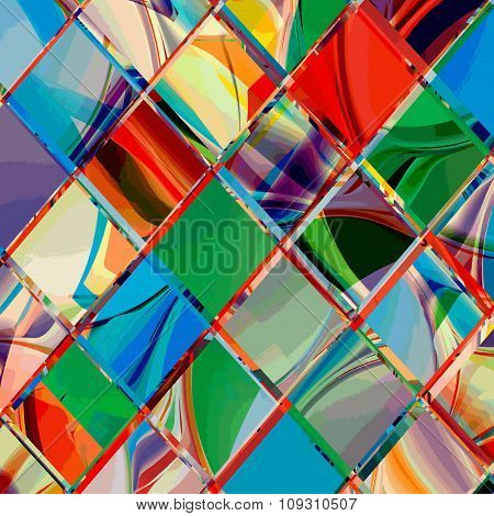 Grunge checkered colorful geometrical diagonal composition