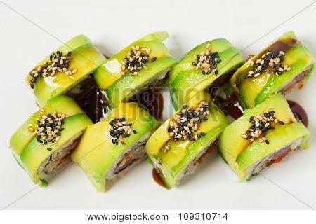 Green dragon japanese sushi roll.