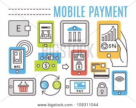Mobile banking, online payments. Thin line flat vector icons