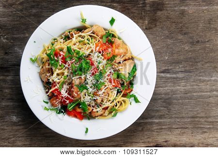 Italian Chicken Breast Spaghetti With Red Pepper, Parmesan Cheese And Wild Rocket  Lives. On Old Woo