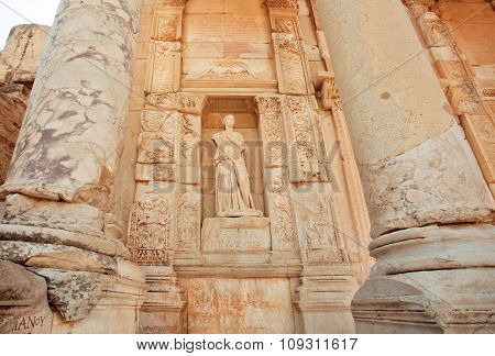 Ancient Sculpture At Entrance Of Historical Celsus Library Of Ephesus City, Turkey
