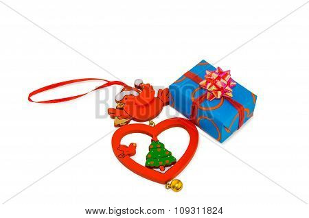 Vintage Christmas Decoration And Gift Box Isolated Over White.
