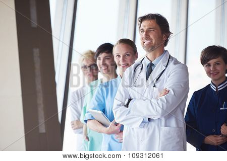 group of medical staff at hospital, doctors team standing together